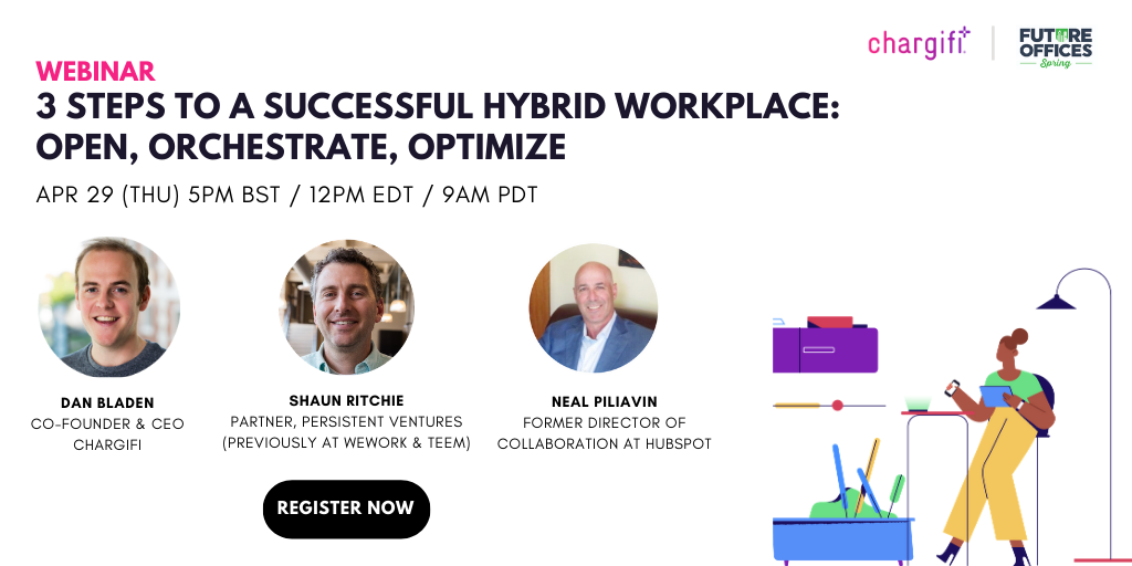 Promotional image for the hybrid workplace webinar with photos of the three speakers