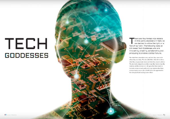 Image of a woman's head filled with circuit boards and lights alongside the words 'Tech Goddesses'